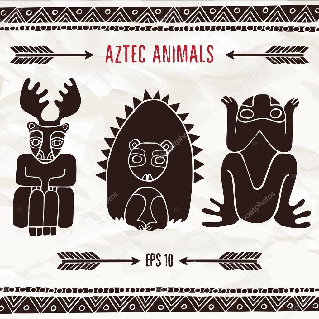 Mano Dibuja Aztecas Animales Fantasticos Colores Marron Vector De