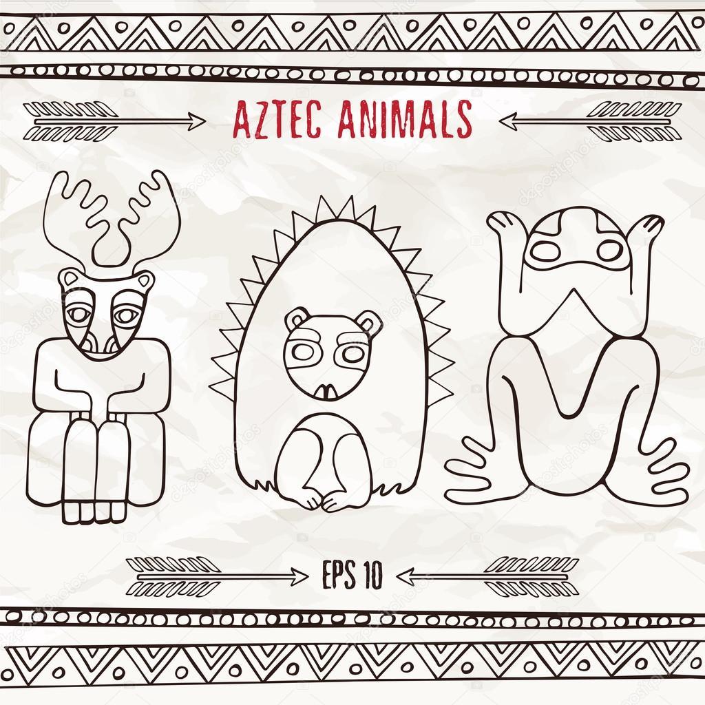Animales Fantasticos Aztecas Dibujados En Estilo Dibujo A Mano