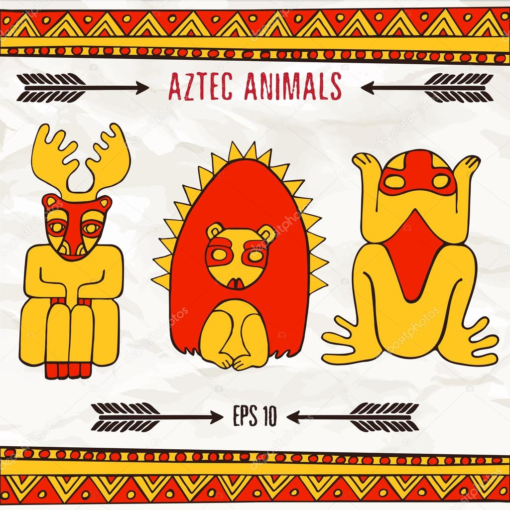Mano Dibuja Aztecas Animales Fantasticos Colores Rojos Y Amarillos