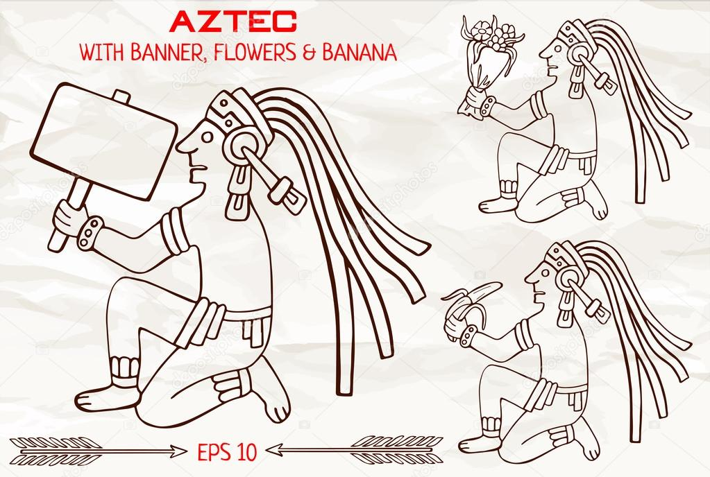 Hand drawn aztec of South America sitting with banner