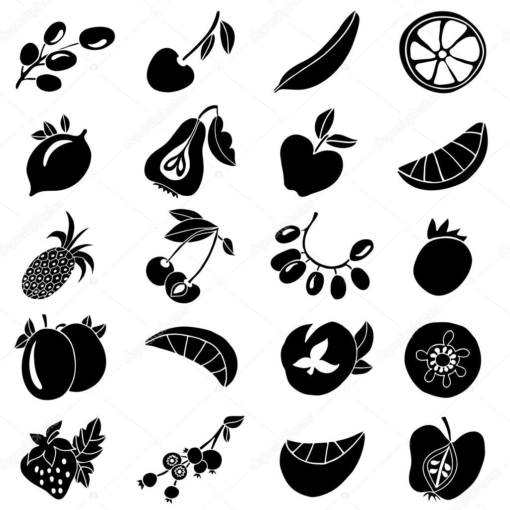 Fruits and berries icons, hand drawn black collection