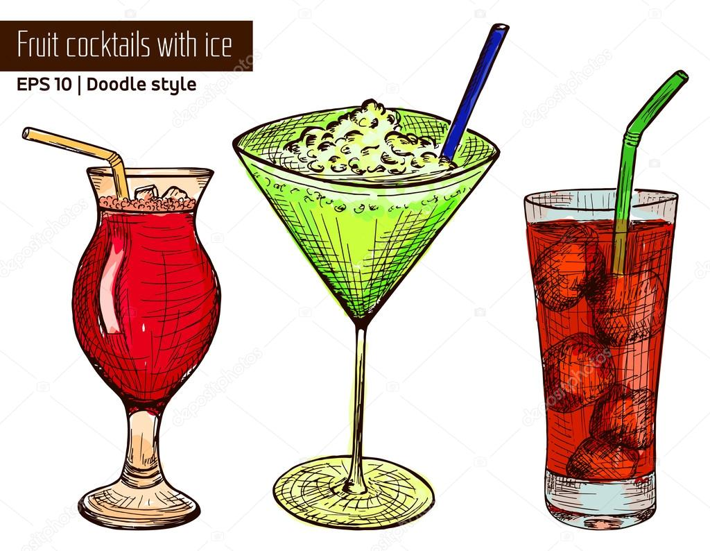 Hand drawn colored set of alcoholic or fruit cocktails