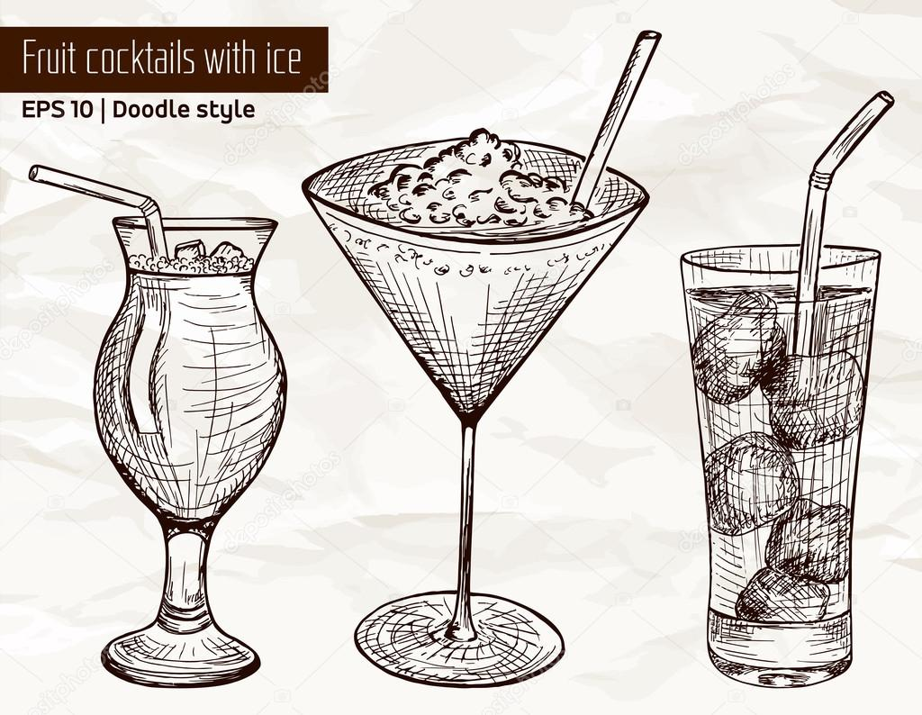 Hand drawn set of alcoholic or fruit cocktails