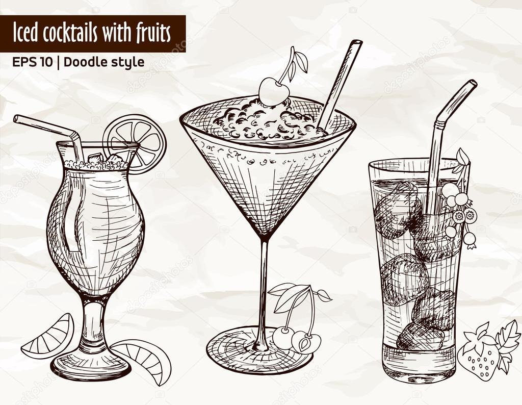 Hand drawn set of alcoholic cocktails with fruits
