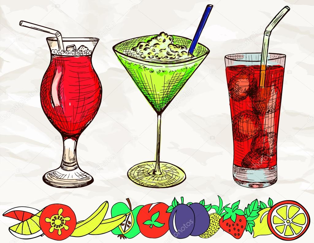 Hand drawn colored set of cocktails with cartoon fruits