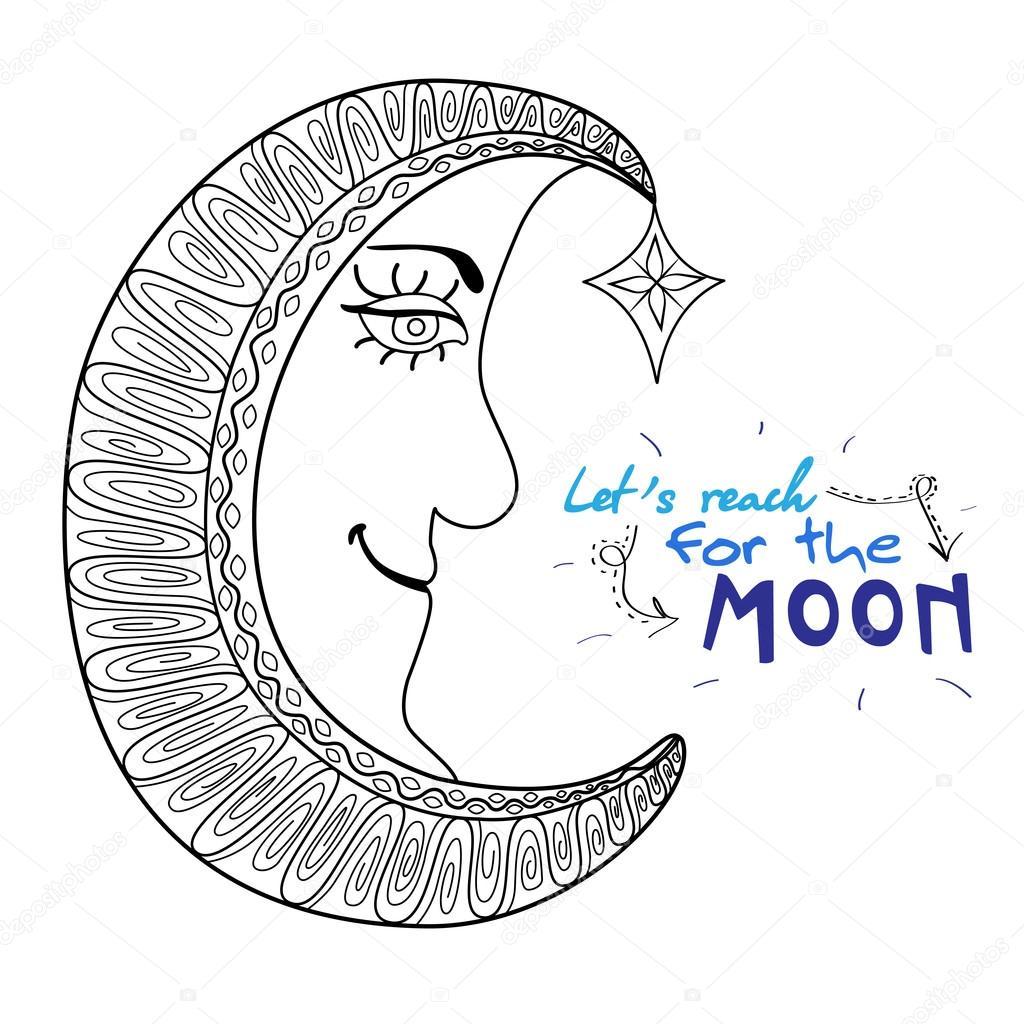 Güzel çizgi Film Ay Yıldız Stok Vektör Cherryka25 91649974