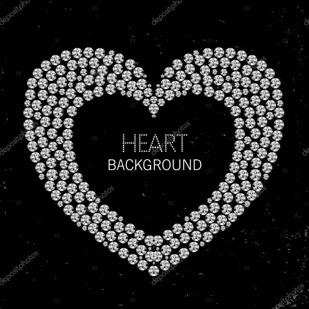 Marco de corazón de diamantes o diamantes de imitación — Archivo ...