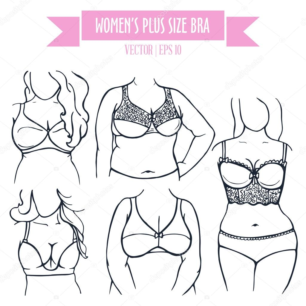 48e259c2e4e Types of bra for women plus size in sketch style — Stock Vector ...