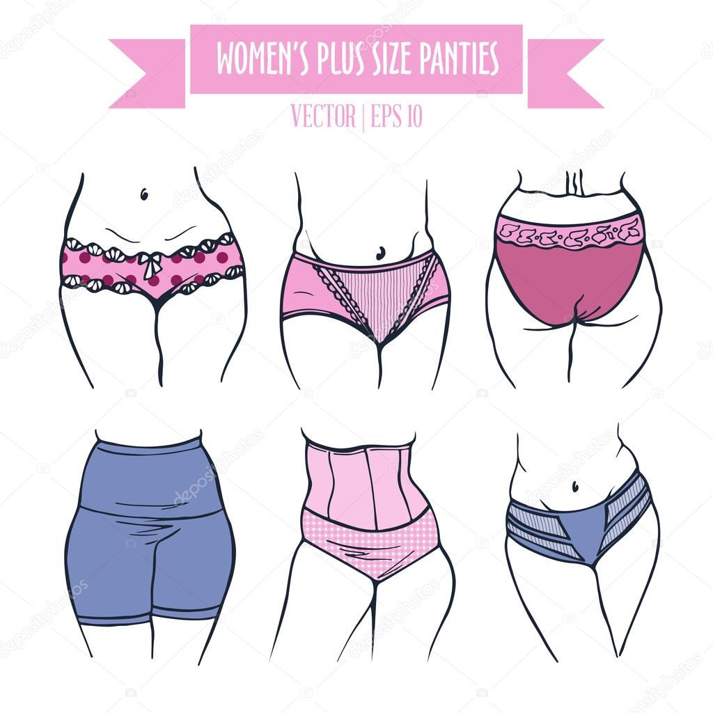 types of panties for women plus size in colored sketch — stock