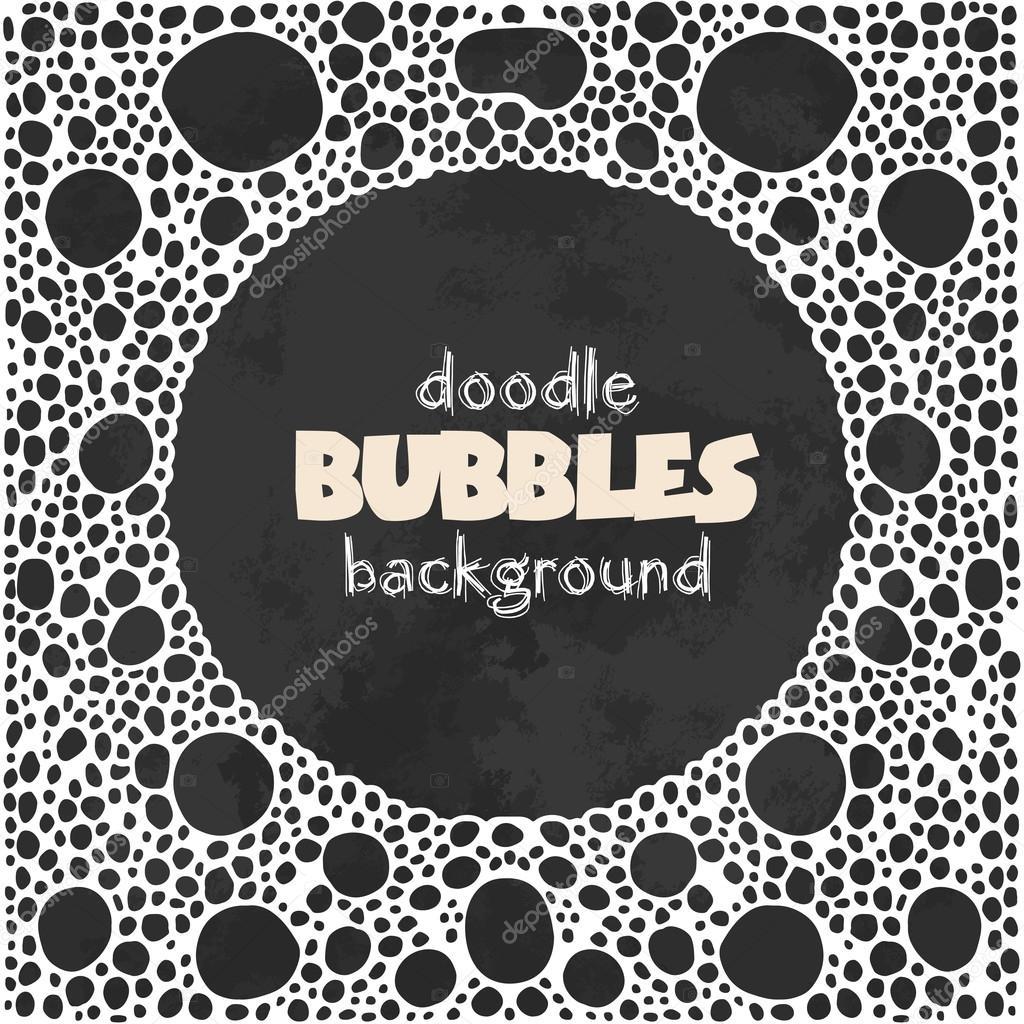 Schwarzer Quadrat Hintergrund mit weißen Seifenblasen Runde Rahmen ...