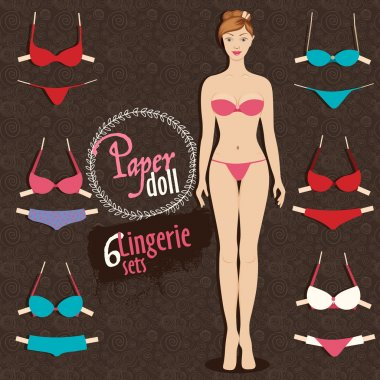 Beautiful dress up paper doll and lingerie sets with fixing