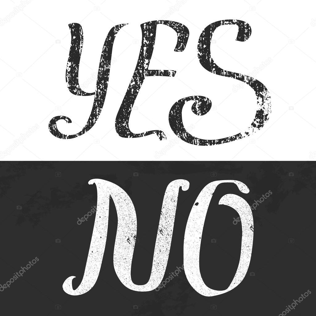 Yes No Typography Poster Template In Black And White Stock