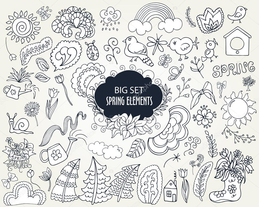 Set of Floral Spring elements in outline doodle style