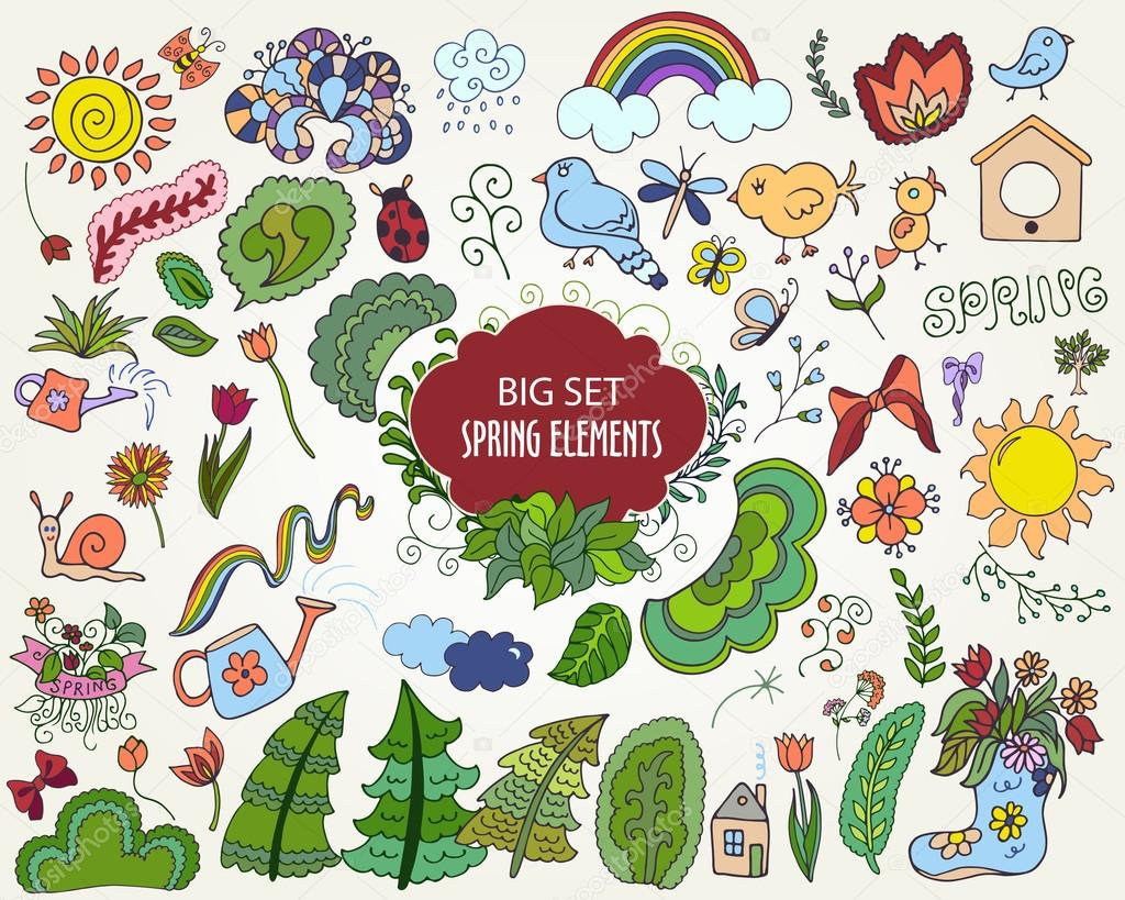 Set of colorful Floral Spring elements in outline doodle style