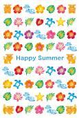 summer greeting card with Japanese Bingata icons.