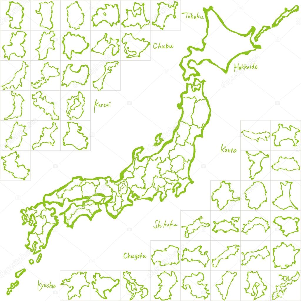 Map Of Japan With Prefectures.Japan Map Japanese Prefectures Hand Drawn Illustration Stock