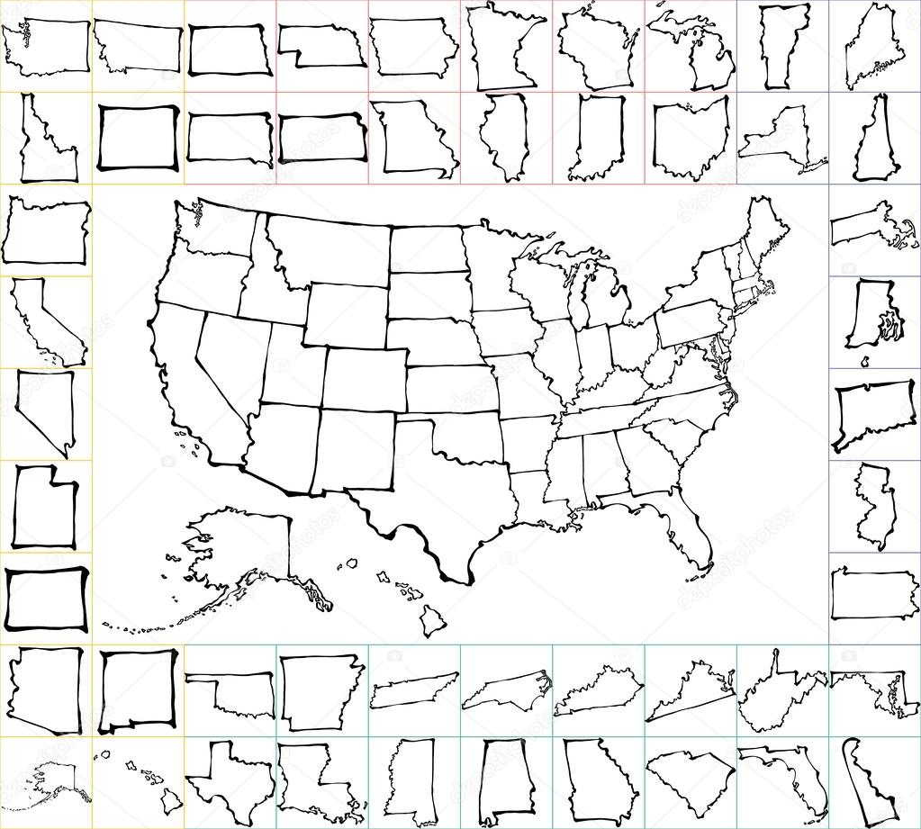 USA map with states. brush strokes.
