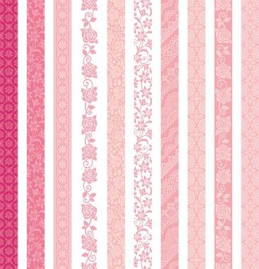 Set of decorative banners. lace trims.