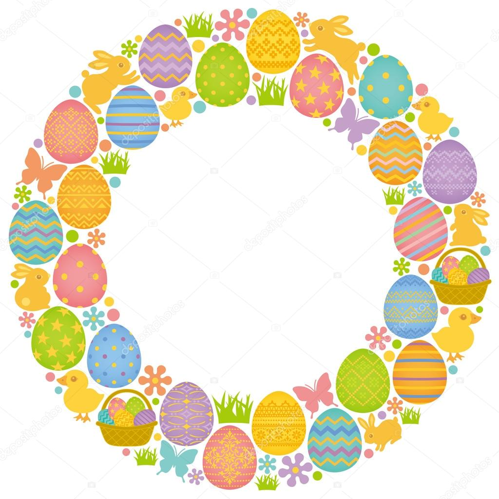 circle frame with easter eggs bunnies and u2014 stock vector