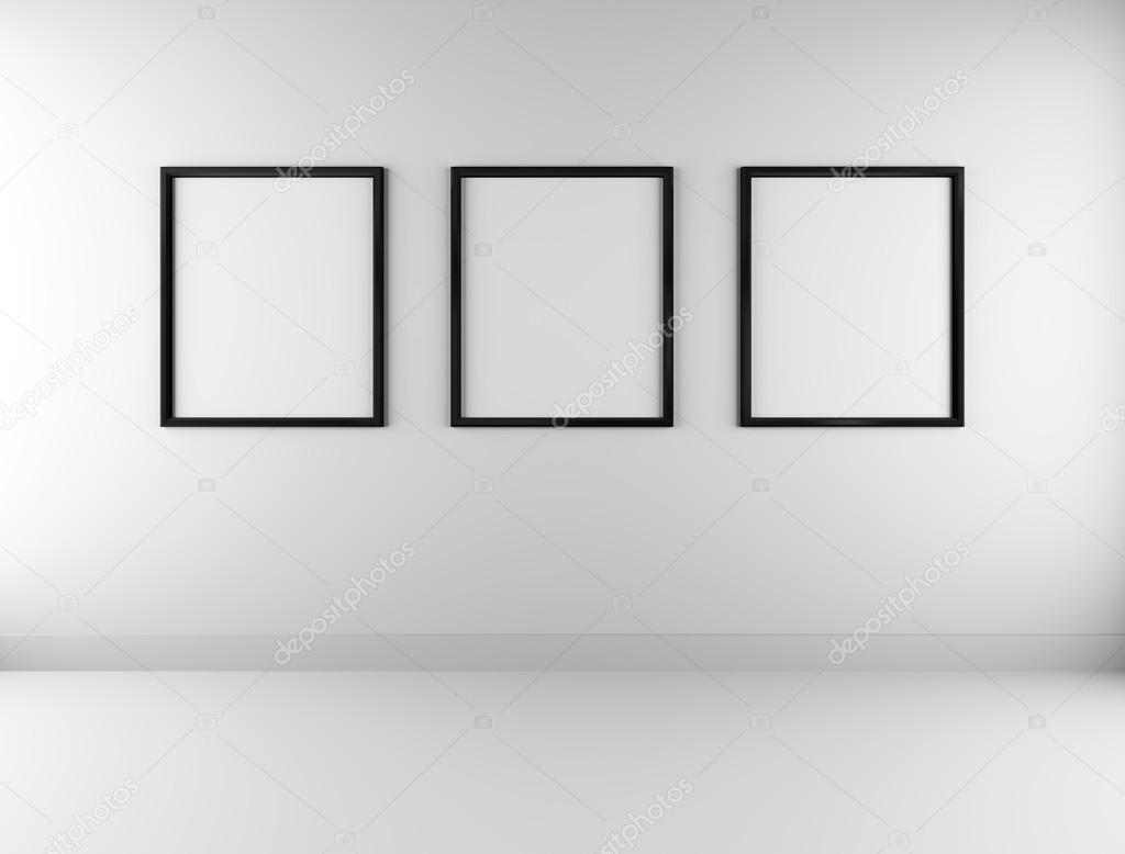 drei leere Bilderrahmen an Wand — Stockfoto © Jezper #111008276