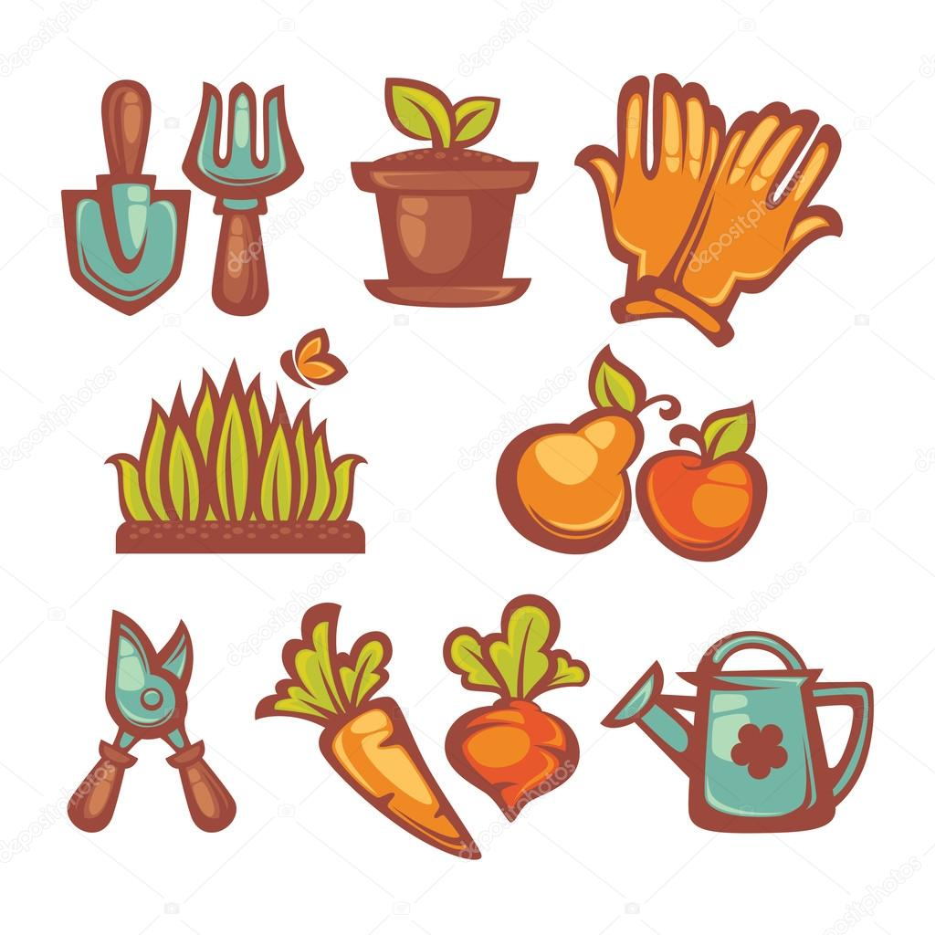 my little  farm and gardening icons and objects