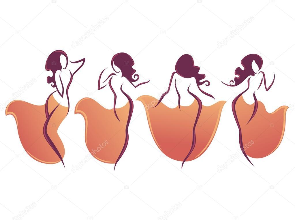 Belly Dance Vector Collection Of Dancing Girl Stock Vector