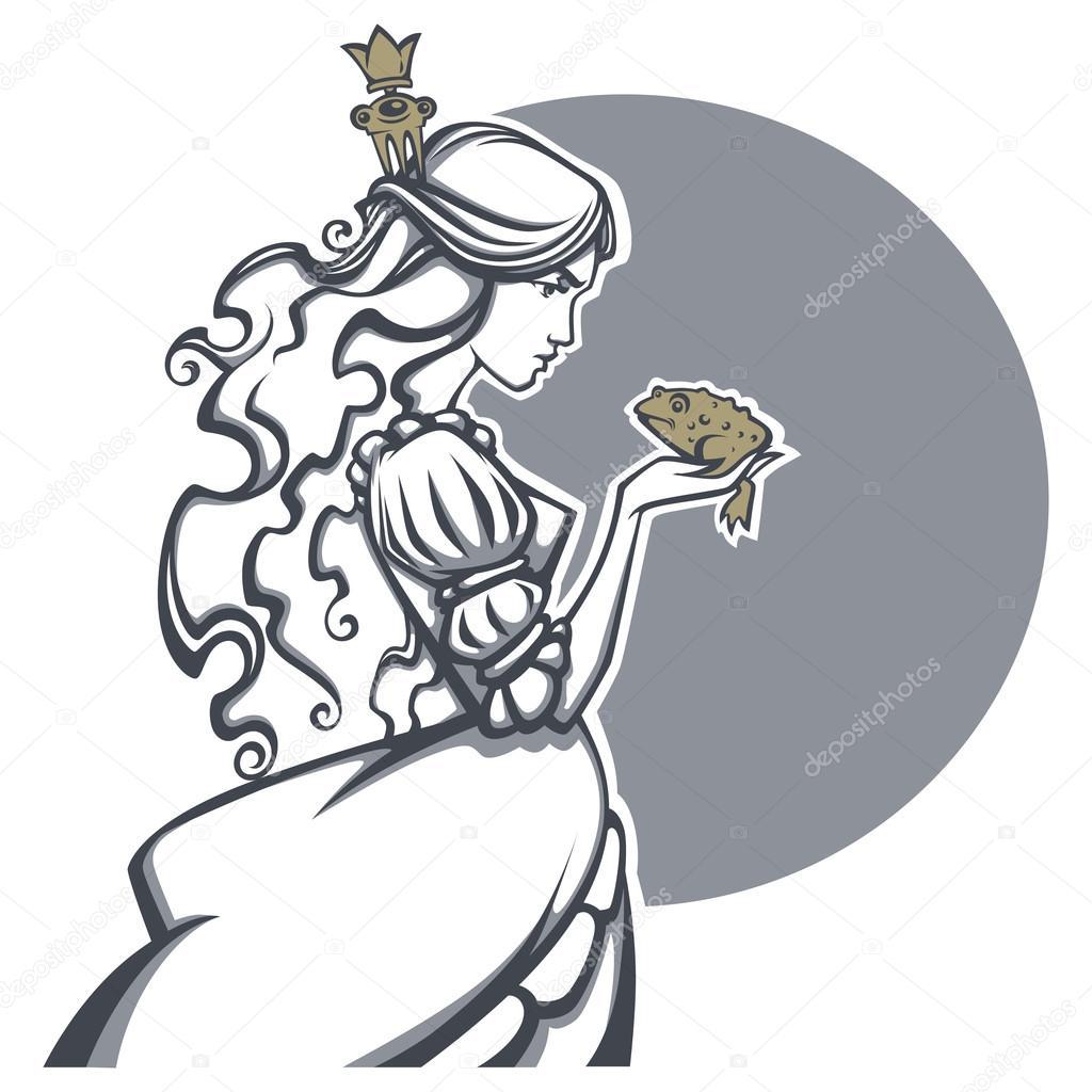 hermosa princesa y el Príncipe Rana, vector illustrati de cuento de ...