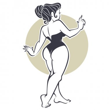 sexy pinup girl, vector illustration