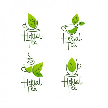 Herbal green tea,  vector collection of line art logo, labels, emblems with lettering composition icon