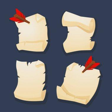 Parchment collection cartoon style for your mobile game or app design icon
