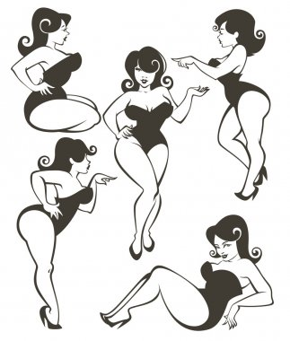 Large pinup collection stock vector