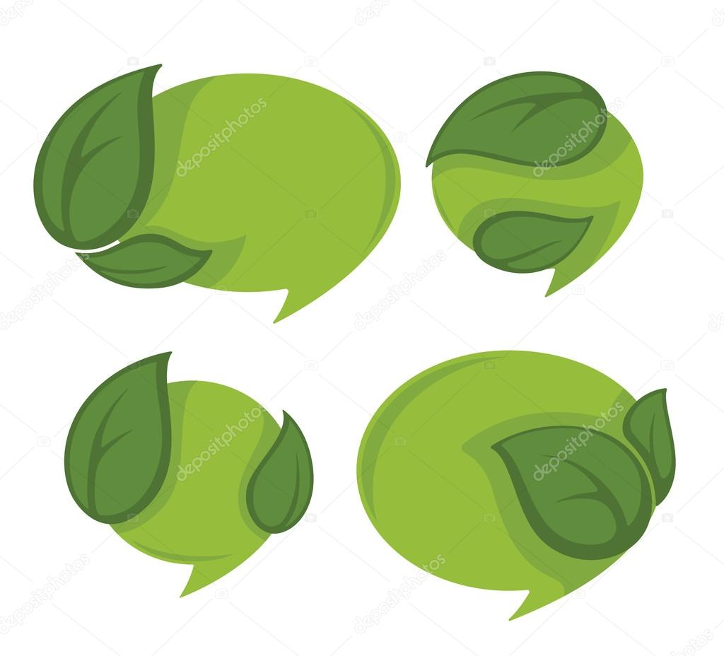 bright green leaf frames and stickers, look like a speech bubble