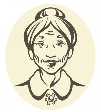 vector portrait of a pretty grandma