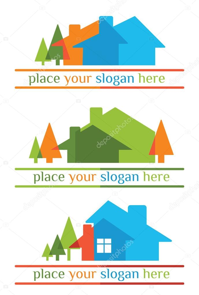 landscapes and homes emblems for your slogan