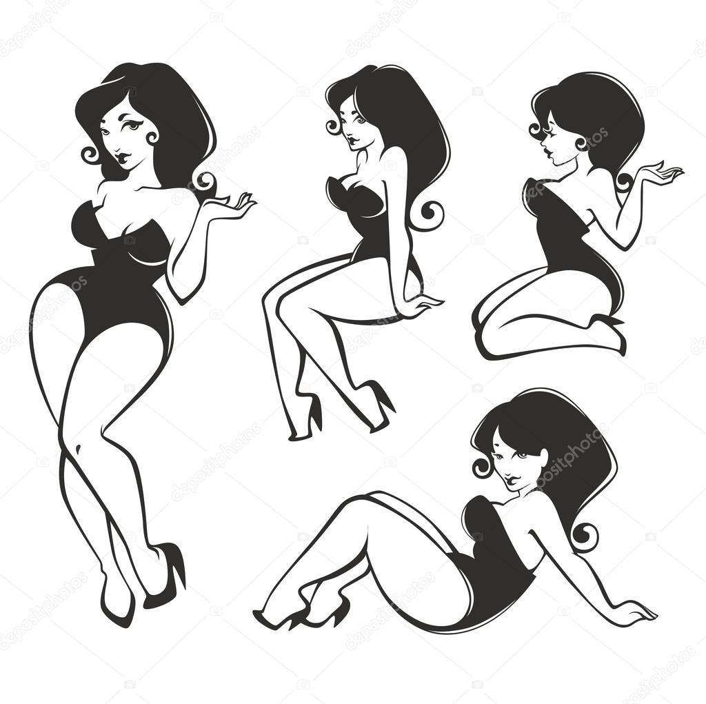 vector collection of pin up girls stock vector tachyglossus rh depositphotos com pin up silhouette vector pinup victory rolls