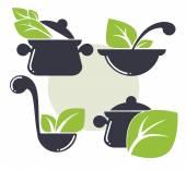 Fotografia lattrezzatura per cucinare e sano cibo biologico
