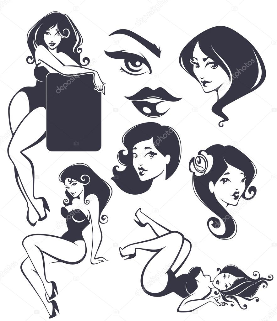 vector collection of pinup girls and faces stock vector
