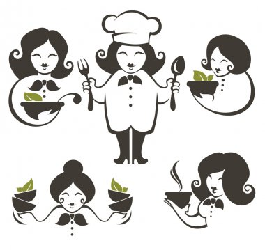 Food and cartoon woman chef silhouettes, vector collection emble