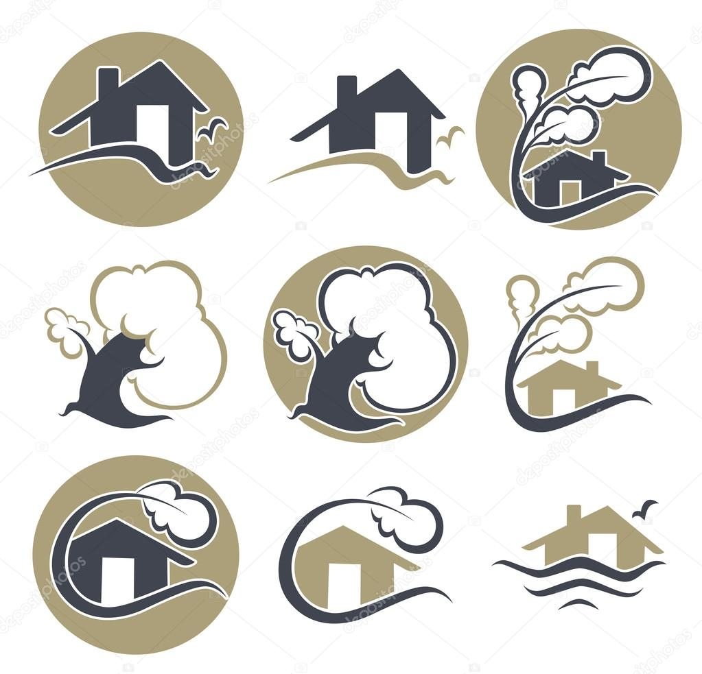 vector set of ecology, nature, house and homes signs and icons