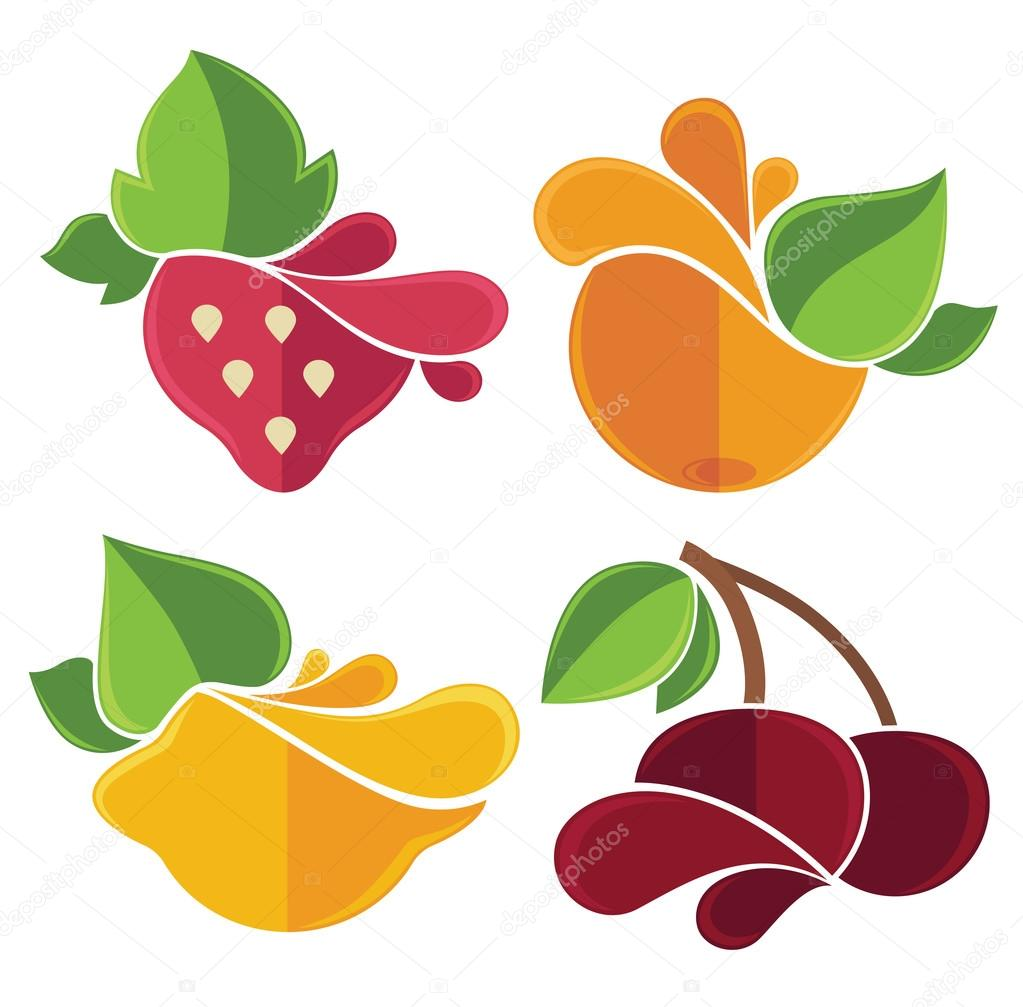 fresh stylized fruits and berries emblems