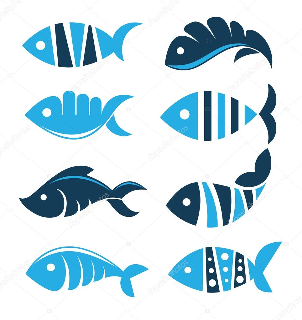 Set of vector fish icons, signs, symbols and emblem