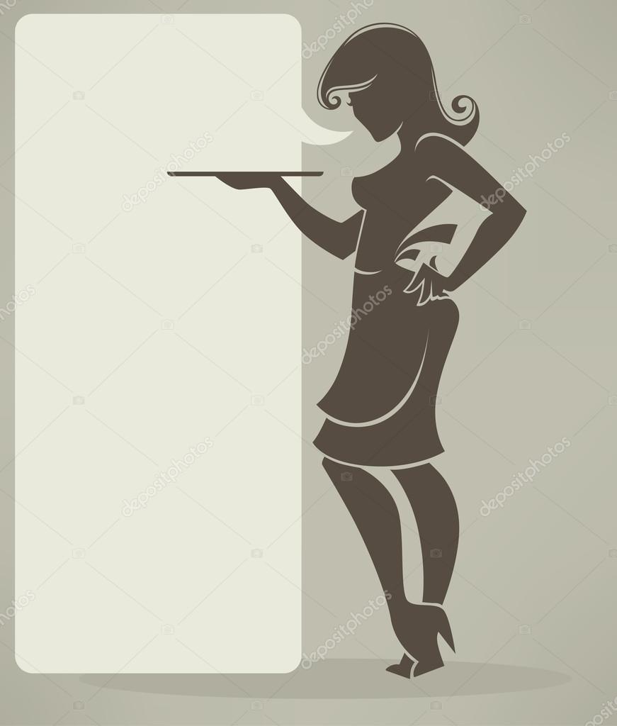 Retro girl silhouette for your menu