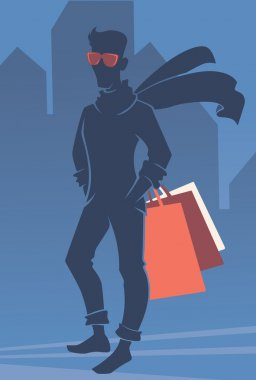 vector silhouette of handsome man with shopping bags