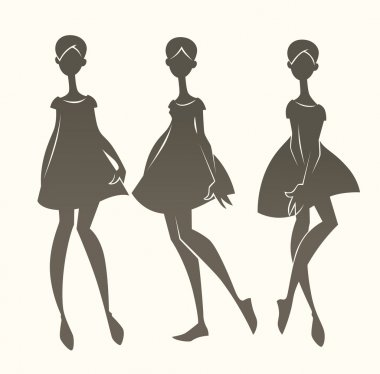 cartoon fashion silhouettes, vector girls collection