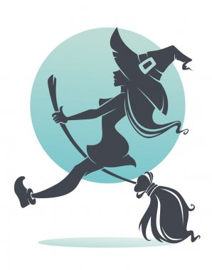 Young happy and attractive witch clip art vector