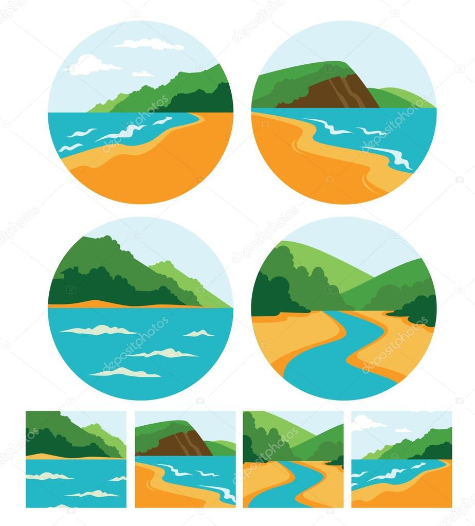 vector collection of sea summer landscape symbols, icons and emb