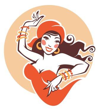 vector image of dancing gipsy, attractive woman