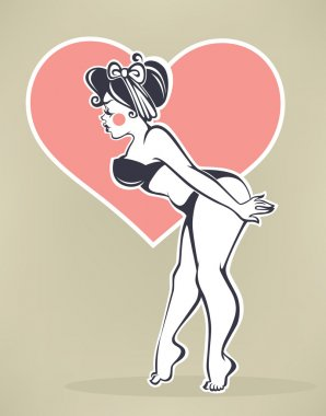 plus size pinup girl on beige background