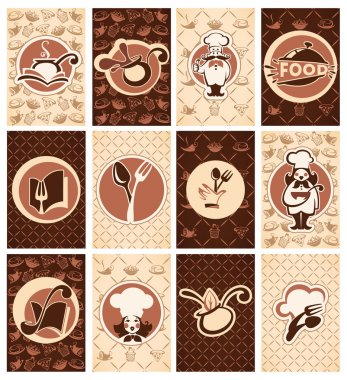 cooking, food, beverage, vector buisiness cards collection