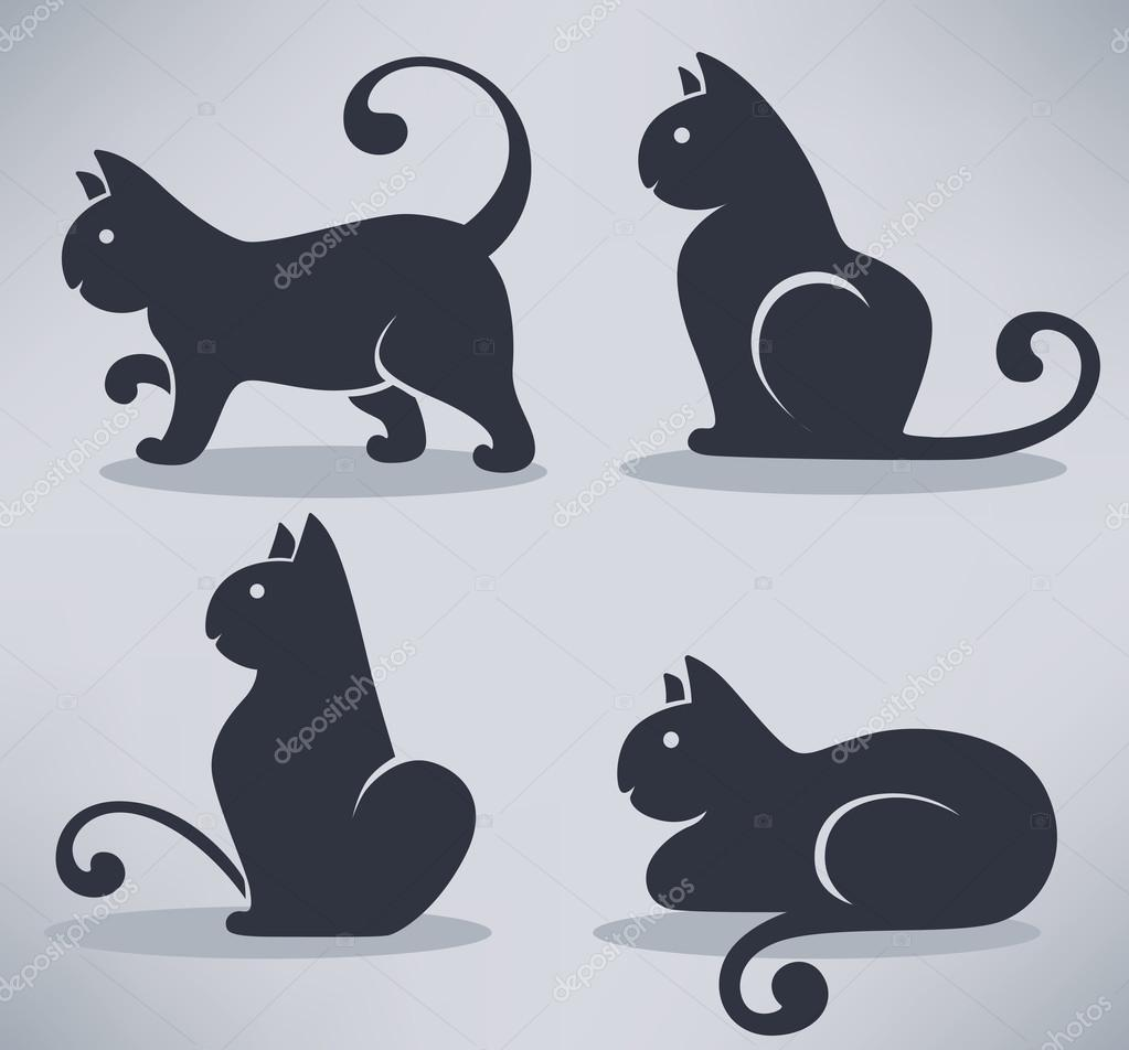 lovely black cats, my favorite pets, vector collection
